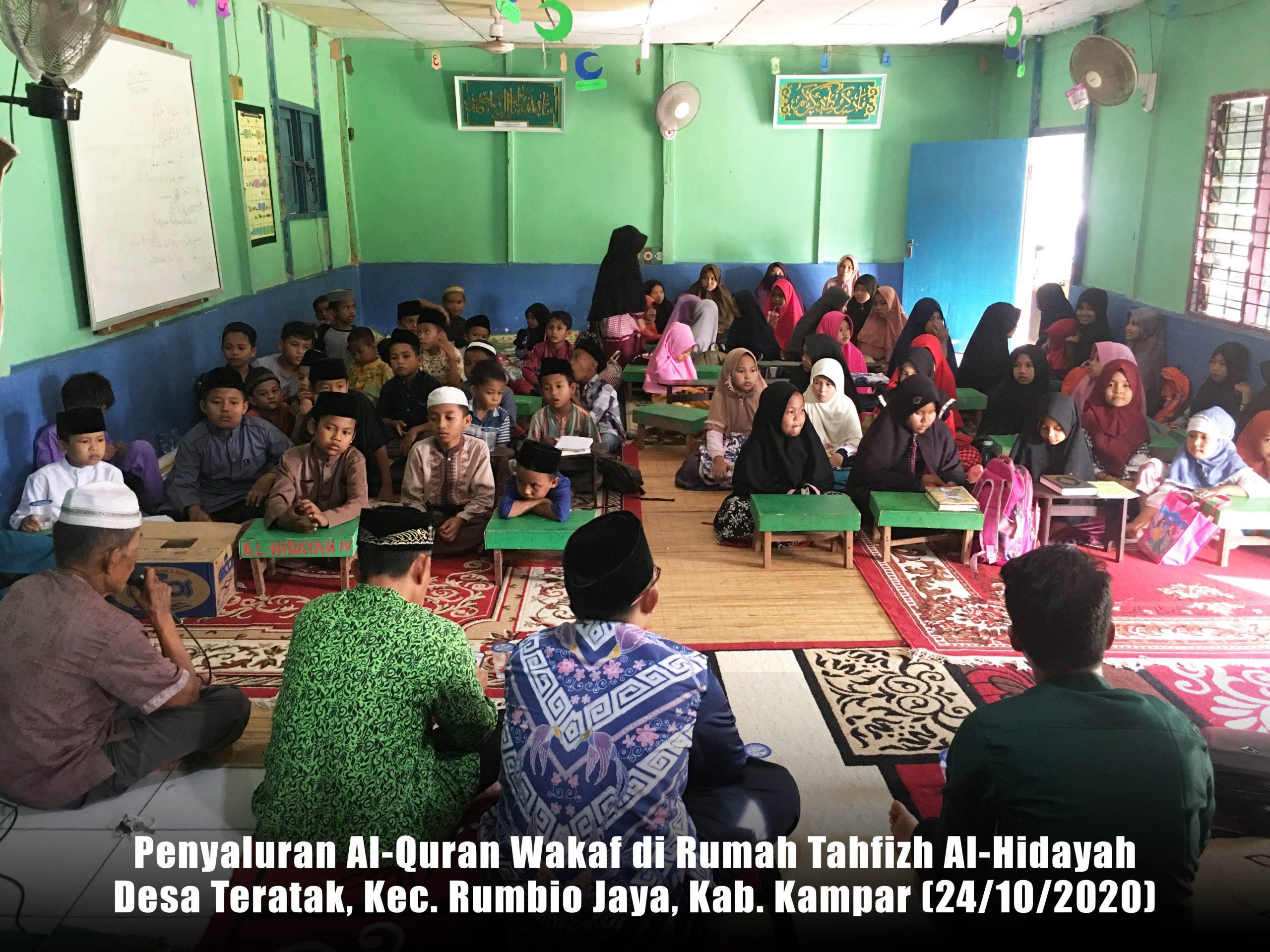 Laporan Penyaluran Al-Quran Wakaf ke Desa Teratak, Kec. Rumbio Jaya, Kab. Kampar (23/10/2020)