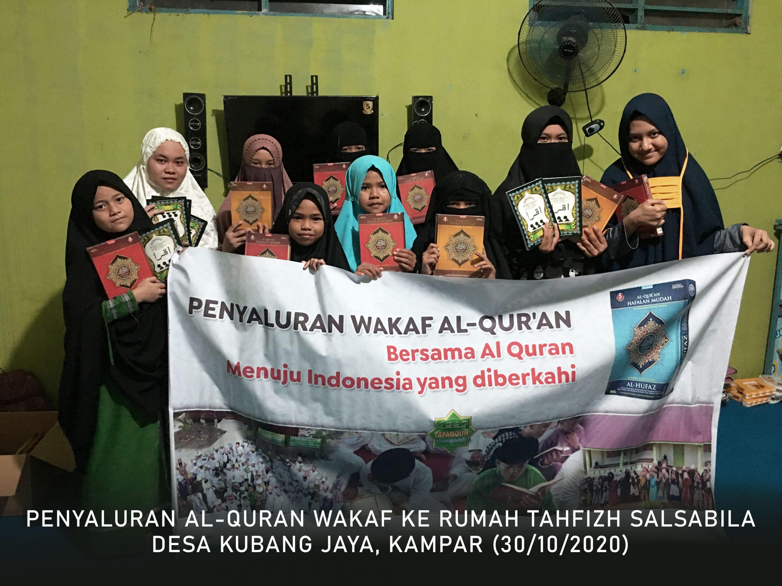 Penyaluran Wakaf Al-Quran ke Kubang Jaya, Kab. Kampar (30 Oktober 2020)